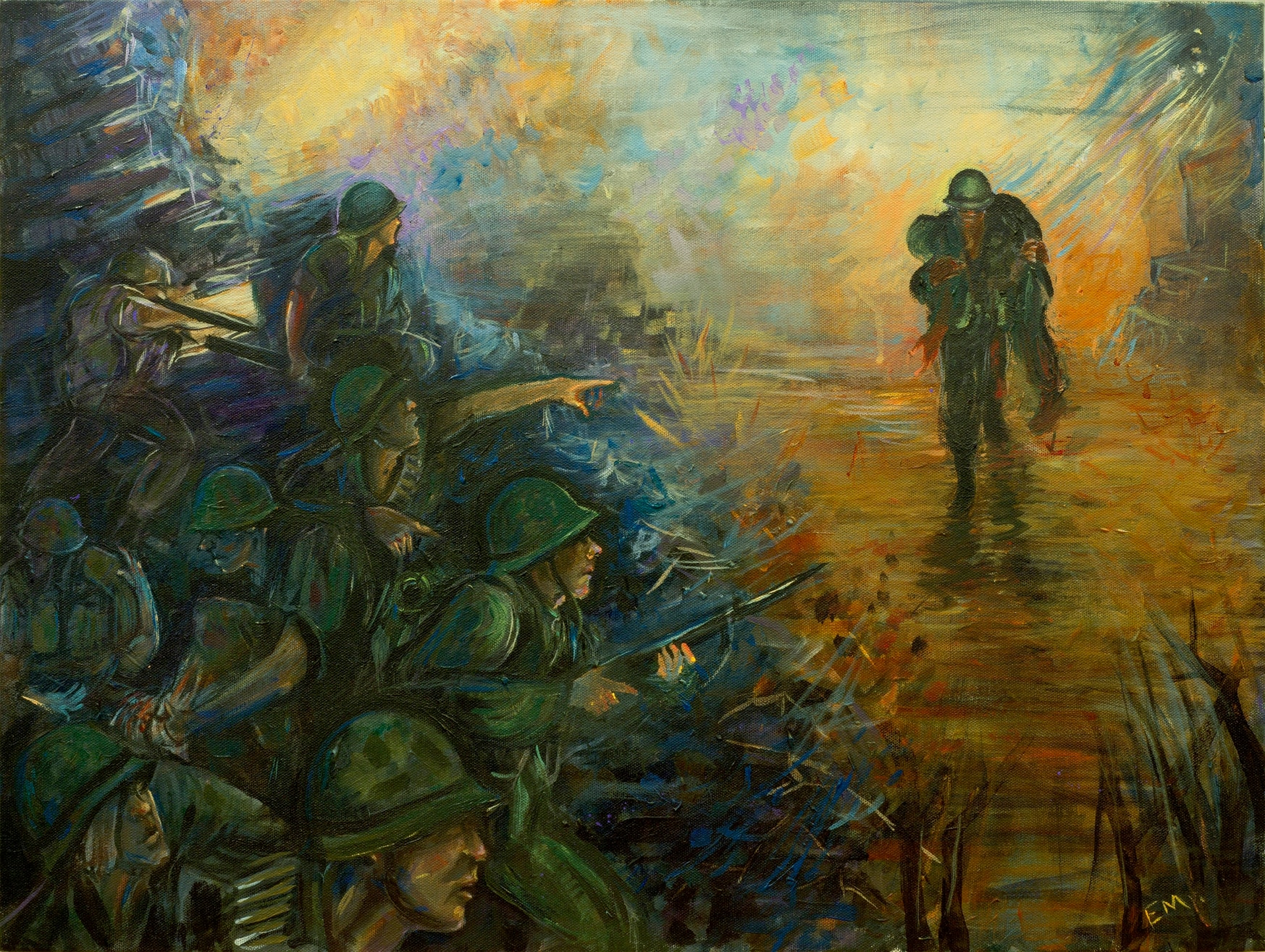 Sgt. Elize McKelvey painted this piece of then-Gunnery Sgt. John Canley during a battle in Hue City, Vietnam, that later garnered him the Medal of Honor. (Sgt. Elize McKelvey/Marine Corps)