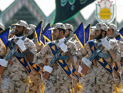Iranian soldiers march during the annual military parade marking the anniversary of the outbreak of its devastating 1980-1988 war with Saddam Hussein's Iraq, on Sept. 22, 2017, in Tehran. (AFP via Getty Images)