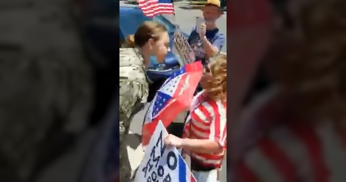 Video shows uniformed sailor screaming 'F*** Trump!' and angrily confronting protesters