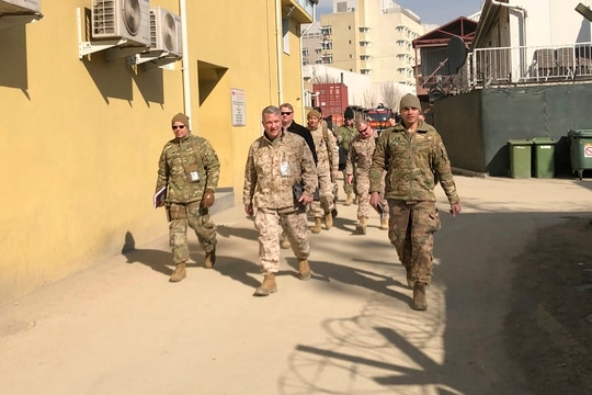 Marine Gen. Frank McKenzie, center, the top U.S. commander for the Middle East, makes an unannounced visit Jan. 31, 2020 in Kabul, Afghanistan. (Lolita Baldor/AP)
