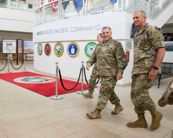 Army Chief of Staff Gen. Mark Milley visits the headquarters building of the formerly named U.S. Pacific Command, now renamed U.S. Indo-Pacific Command, at Camp H.M. Smith. (Sgt. 1st Class Chuck Burden/Army)