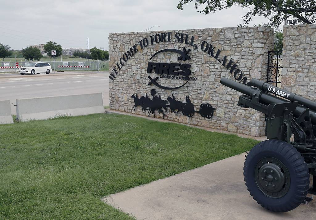 A sign at Scott Gate at Fort Sill is seen in Oklahoma