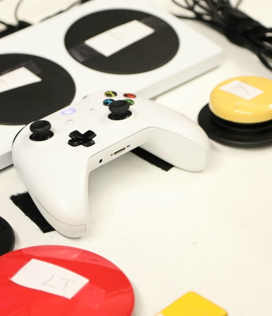 The Xbox Adaptive Controller, shown with a traditional Xbox controller. (Jeff Young Photography/Microsoft)