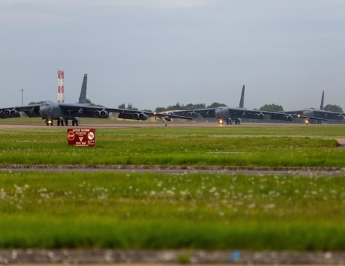 Three B-52H Stratofortresses assigned to the 5th Bomb Wing, Minot Air Force Base N.D., taxi onto the flightline at RAF Fairford, England, Sept. 4, 2020. (Airman 1st Class Jesse Jenny/Air Force)