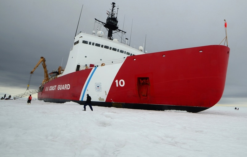 The Coast Guard Cutter Polar Star, a high endurance icebreaker homeported in Seattle, sits on the ice in the Ross Sea near Antarctica while underway in support of Operation Deep Freeze in early 2015. (Coast Guard)