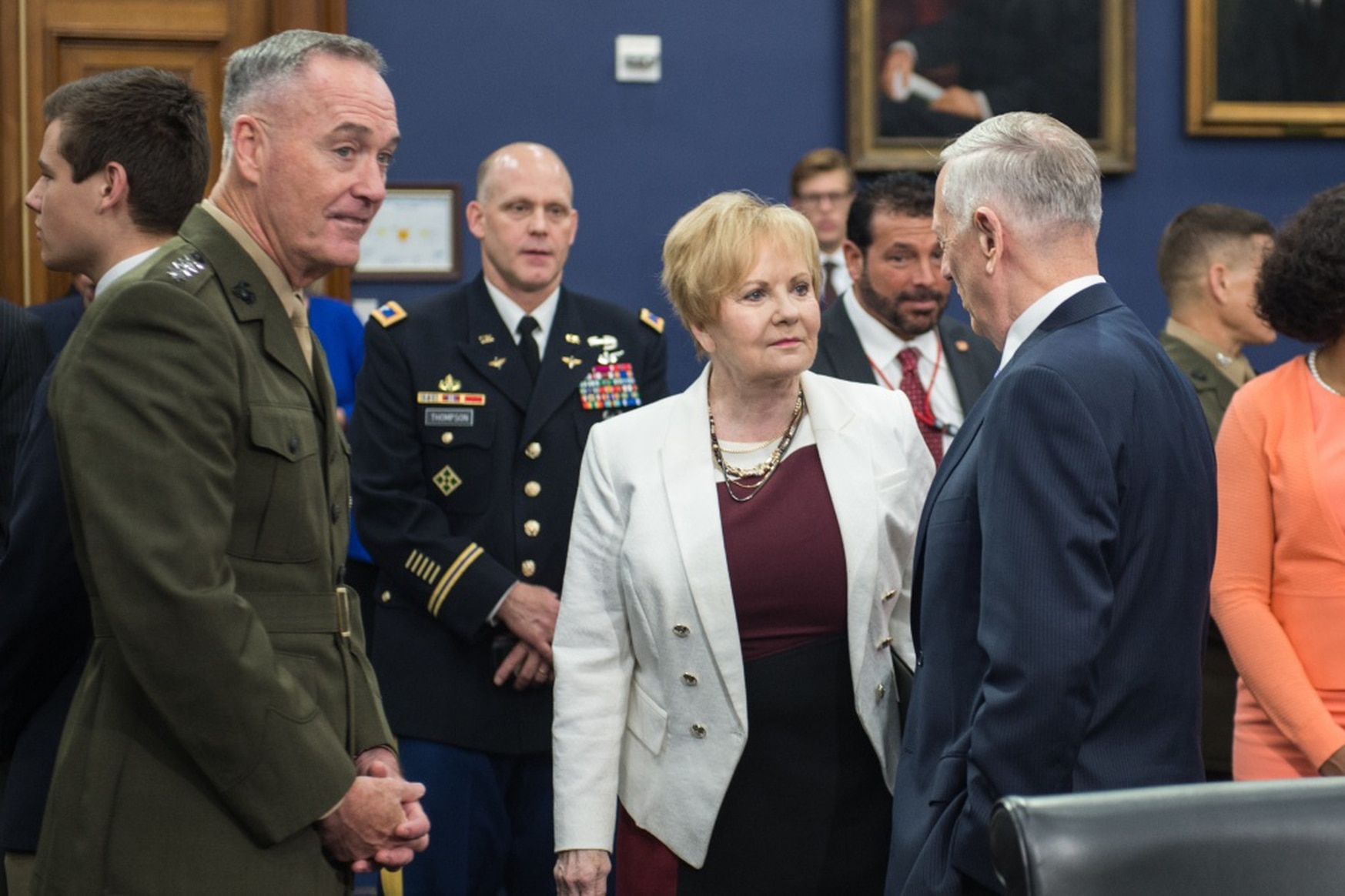 FILE- In this June 15, 2017 file photo, then Defense Secretary Jim Mattis, right, speaks with Rep. Kay Granger, then the House Appropriations Defense subcommittee chairwoman, center, and then-Marine Corps Gen. Joseph F. Dunford, Jr., chairman of the Joint Chiefs of Staff, left, before a budget hearing in Washington D.C. (Photo by Sgt. James McCann/Office of the Chairman of the Joint Chiefs of Staff)