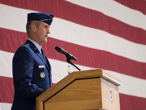 Maj. Gen. Peter Gersten addresses ceremony attendees after taking command of the U.S. Air Force Warfare Center on July 13, 2017, at Nellis Air Force Base, Nevada. Gersten was relieved of command June 2 due to allegations of an unprofessional relationship. (SrA Joshua Kleinholz/Air Force)
