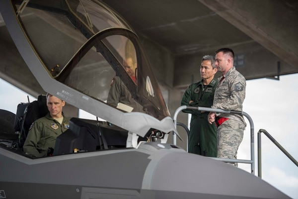 Maj. Gen. Koji Imaki, Japan's Air Defense Command's defense and operations division chief, tours a U.S. Air Force F-35 on Jan. 12, 2018, at Kadena Air Base, Japan. (Senior Airman Omari Bernard/U.S. Air Force)