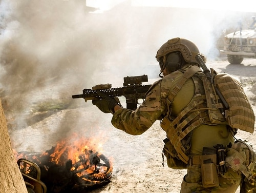 A U.S. special operations soldier returns fire in Logar Province, Afghanistan, July 28, 2018. (Staff Sgt. Nicholas Byers/Air Force)