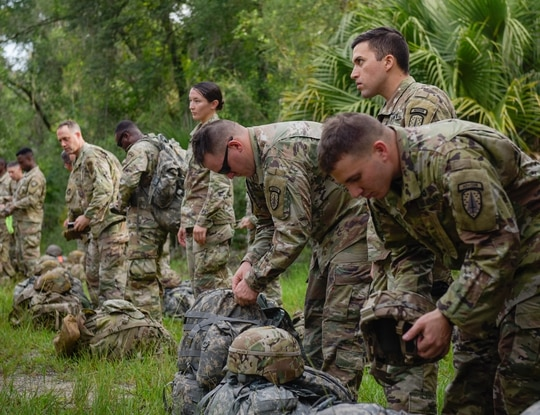 Soldiers participate in a Security Forces Assistance Brigade course at Camp Blanding, Florida. (Army)