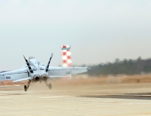 An F/A-18E Super Hornet is launched during a test of the Electromagnetic Aircraft Launch System (EMALS) at Naval Air Systems Command, Lakehurst, N.J., on Dec. 18, 2010. (Navy)