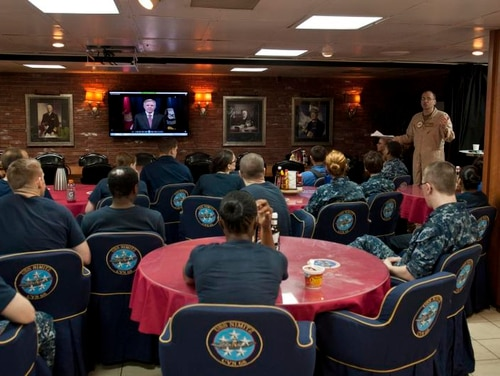 Capt. Jeffrey Ruth, commanding officer of the aircraft carrier USS Nimitz (CVN 68), conducts sexual assault prevention and response training for sailors. (U.S. Navy photo by Mass Communication Specialist 3rd Class Raul Moreno Jr./Released)