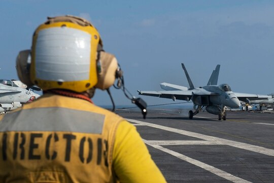 Aircraft carrier Nimitz and Carrier Air Wing 17 conduct flight operations in the Arabian Sea, Nov. 27. (Navy photo).