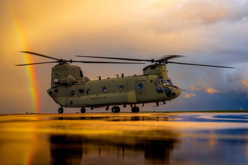 A CH-47 Chinook spins up for an evening training flight just after a storm clears on Oct. 6, 2020, at Katterbach Army Airfield in Germany.