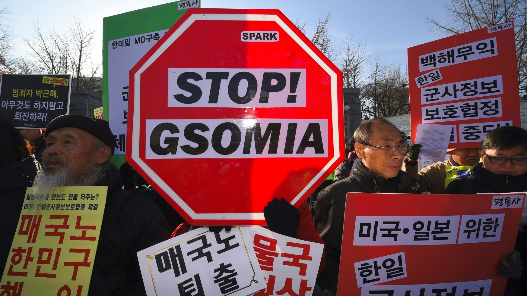 In 2016, the signing of the General Security of Military Information Agreement (GSOMIA) between South Korea and Japan led to protests. (JUNG YEON-JE/AFP/Getty Images)