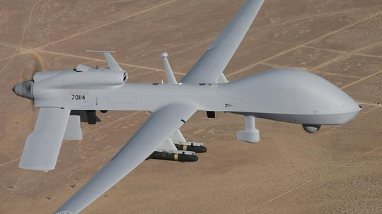 Currently, the Army's MQ-1C Gray Eagles — which are division assets used at the tactical and operational levels — are operated locally in theater. A pilot program is exploring employing a hybrid model that utilizes stateside personnel to supplement operators. (Army)