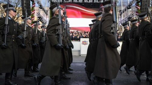 Latvian soldiers take part in a parade as the Baltic country marks 100 years of its independence in Riga, Latvia, Nov. 18, 2018. (Photo by Ilmars Znotins/AFP/Getty Images)
