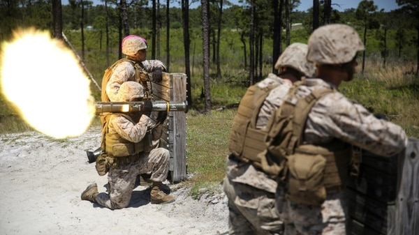 Marines with 1st Battalion, 8th Marine Regiment fire an AT-4 anti-tank weapon during a live-fire rocket range aboard Camp Lejeune, North Carolina, May 5, 2015. (Cpl. Kirstin Merrimarahajara/Marine Corps)