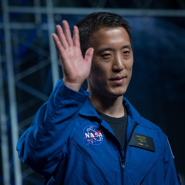 NASA astronaut candidate Jonathan Kim waves as he is introduced as one of 12 new candidates, Wednesday, June 7, 2017, during an event at NASA's Johnson Space Center in Houston, Texas. (NASA)