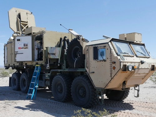 An Active Denial System is staged before conducting a counter personnel demo at Wellton, Ariz., April 4, 2017. (Lance Cpl. Andrew M. Huff/Marine Corps)