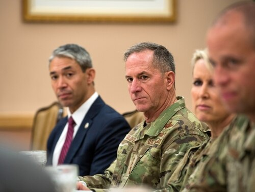 Ron Nirenberg, left, mayor of San Antonio, Air Force Chief of Staff Gen. David L. Goldfein, center, and Brig. Gen. Laura Lenderman, 502nd Air Base Wing and Joint Base San Antonio commander, meet with key military representatives of JBSA, Texas, March 11, 2020, regarding COVID-19. (Air Force)