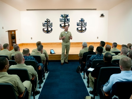 140513-N-OT964-039 NAVAL STATION NEWPORT (May 13, 2014) Master Chief Petty Officer of the Navy (MCPON) Mike Stevens speaks with joint and foreign service members during an all-hands call at the Senior Enlisted Academy. (U.S. Navy photo by Mass Communication Specialist 2nd Class Martin L. Carey/Released)