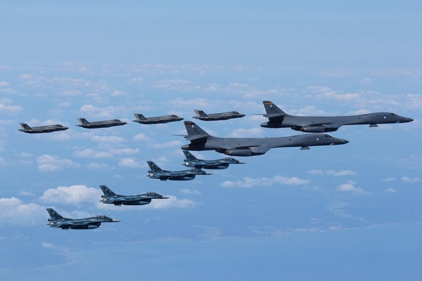 U.S. Air Force B-1B Lancer bombers flanked by U.S. Marine Corps F-35 Lightning II and Japan Air Self-Defense Force F-2 fighters execute a bilateral mission over the Pacific Ocean on Sept. 18, 2017, demonstrating the United States' ironclad commitment to our allies in the face of aggressive and unlawful North Korean missile tests. This mission was conducted in direct response to North Korea's intermediate range ballistic missile launch, which flew directly over northern Japan on September 14. (Staff Sgt. Steven Schneider/Army)