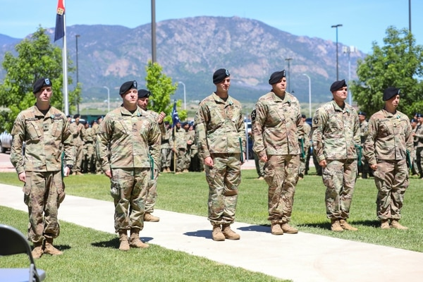 From left: Spc. Jacob S. Shontz, Spc. Joseph Smith, 1st Lt. Cooper L. Lemons, Sgt. 1st Class John Ballenger, Staff Sgt. Timme L. Jones, and Spc. Benaiah O. Wiedenhoft receive awards in front of their peers and leaders June 11 during a ceremony at Fort Carson, Colorado. (Staff Sgt. Neysa Canfield/Army)