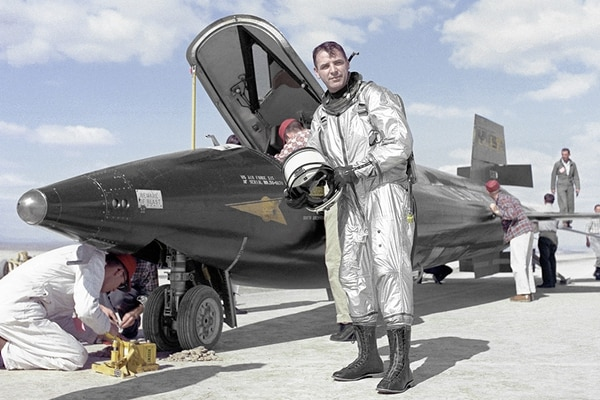 Air Force Major Robert M. White took the X-15 through Mach 4, Mach 5, and Mach 6. (NASA)