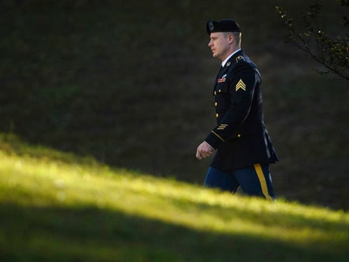 Army Sgt. Bowe Bergdahl arrives at the Fort Bragg courthouse for a sentencing hearing on Wednesday, Oct. 25, 2017, on Fort Bragg, N.C. (Andrew Craft/The Fayetteville Observer via AP)
