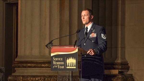 TSgt. Cody Smith accepts the Air Force Times Airmen of the Year award in Washington, D.C., June 11.