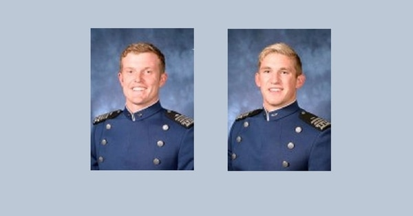 Air Force Academy Cadets 1st Class Lars Knutson, left, and Michael Hannigan are accused of dereliction of duty, conspiracy and obstruction of justice stemmng from the alleged hazing incident and its aftermath. (U.S. Air Force Academy)