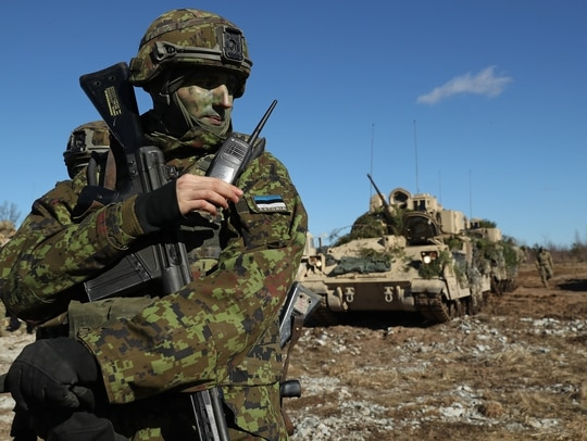 An Estonian soldier pictured during a March exercise near Tapa. Estonian military academies need to start teaching cyber skills together with traditional military skills, a top official says. (Sean Gallup/Getty Images)