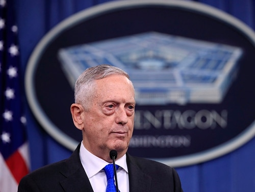 Secretary of Defense Jim Mattis speaks to reporters during a news conference at the Pentagon, Tuesday, Aug. 28, 2018, in Washington. (Manuel Balce Ceneta/AP)