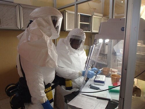 Pentagon officials have withheld funds from Army labs that conduct medical research on pathogens and treatments for chemical weapons exposure. (Randal Schoepp/USAMRIID)