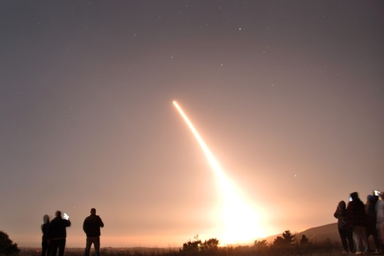 An Air Force Global Strike Command unarmed Minuteman III intercontinental ballistic missile launches during an operational test on Oct. 29, 2020, at Vandenberg Air Force Base, Calif. (Air Force)