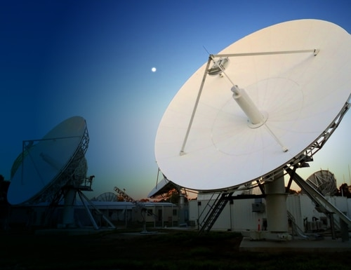 A ground station of the British Skynet 5 satellite-communications network is shown in Adelaide, Australia. A new generation, number 6, is in the works, with four vendor shortlisted in June 2020. (Photo courtesy of Airbus Defence & Space)
