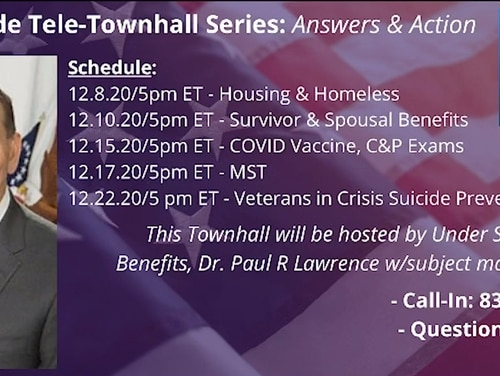 A screenshot from the Department of Veterans Affairs web site advertises the Veterans Benefits Administration's telephone town hall series. The Dec. 22 event was postponed by officials in recent days following controversy surrounding the event focused on military sexual trauma.