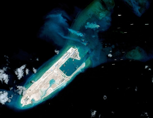 The construction of artificial islands in the South China Sea was cited as gray zone activity by the CSIS report. (AFP PHOTO / CSIS Asia Maritime Transparency Initiative / DigitalGlobe)
