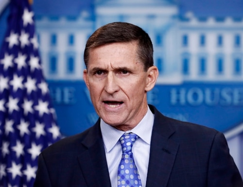 In this Feb. 1, 2017, file photo, then-National Security Adviser Michael Flynn speaks during the daily news briefing at the White House in Washington. (Carolyn Kaster/AP)