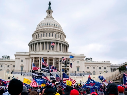 Supporters of President Donald Trump protest outside the U.S. Capitol on Jan. 6, 2021, in Washington. (Alex Edelman/ AFP via Getty Images)
