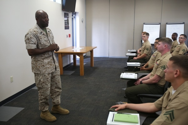 Sgt. Maj. Ronald Green, I Marine Expeditionary Force Sgt. Maj., from Jackson, Miss., came to speak to Marines participating in the 1st Intelligence Battalion Corporals Course aboard Camp Pendleton, Calif., March 27. Sgt. Maj. Green encouraged Marines to always hold themselves to the highest standard and to always look after one another.