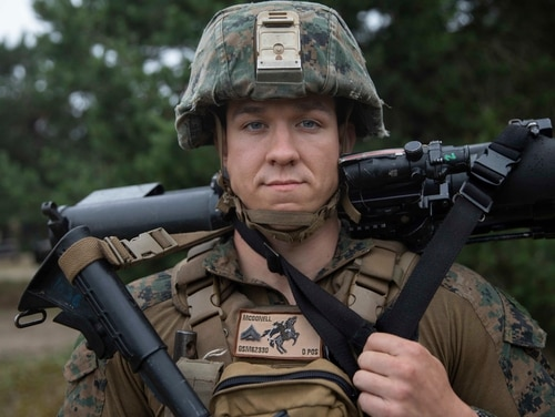 Cpl. Scott McDonell, then an assaultman with the 22nd Marine Expeditionary Unit, was a participant in a unified amphibious assault in Lithuania alongside service members from several NATO countries in June 2019. (Lance Cpl. Antonio Garcia/Marine Corps)