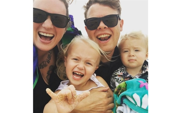 Clockwise from left, Ashley, Ensign Brian, Hudson and Izzy Bugge moved to Hawaii from Washington state last year, with Brian taking on his first job as a limited duty officer. (Courtesy of Ashley Bugge)