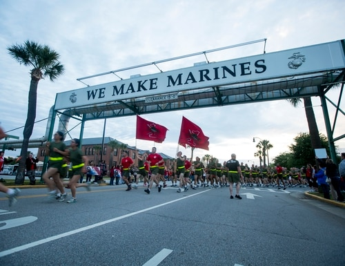 New Marines run under the iconic