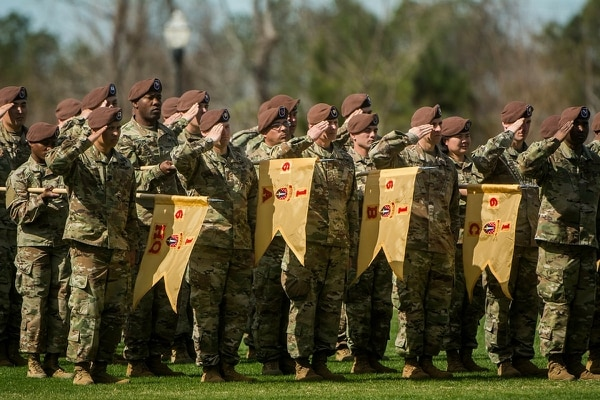The 1st SFAB uncases its colors for an Afghanistan deployment in 2018. (Photo credit: 6th Battalion, 1st SFAB)