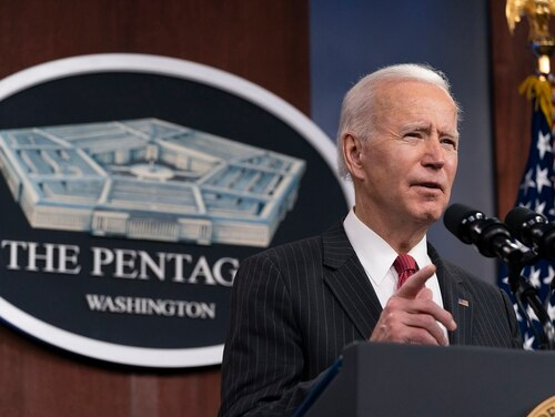 President Joe Biden speaks at the Pentagon, Wednesday, Feb. 10, 2021, in Washington. (Alex Brandon/Pool via AP)