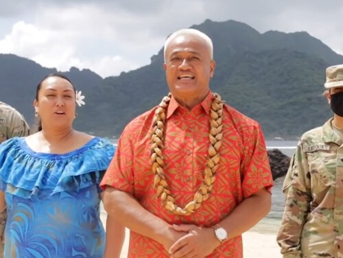 A pair of unidentified soldiers stand behind American Samoa Democratic party leaders Patti Matila and Aliitama Sotoa the roll call vote presentation of the Democratic convention on Aug. 18, 2020. (Screengrab courtesy of DNC)