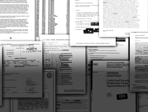 A photo illustration of documents gathered during an AP investigation into missing military weapons. (AP Illustration)