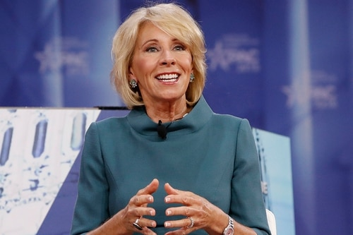 Education Secretary Betsy DeVos speaks during the Conservative Political Action Conference (CPAC), at National Harbor, Md., Thursday, Feb. 22, 2018. (Jacquelyn Martin/AP)
